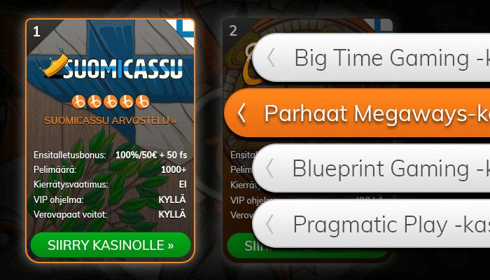 Löydä Megaways-kasinot listaltamme.