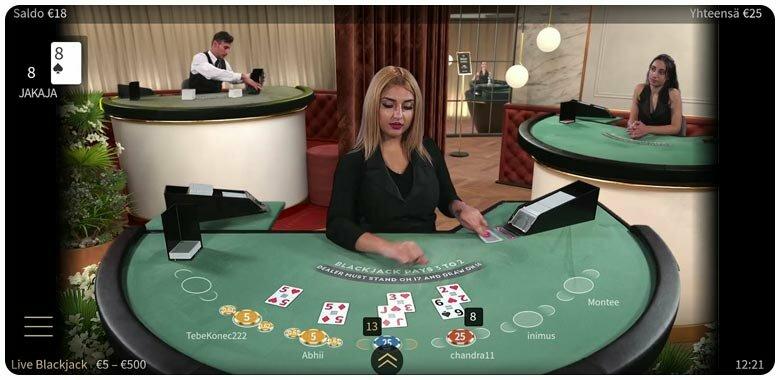 NetEnt live blackjack mobiilissa
