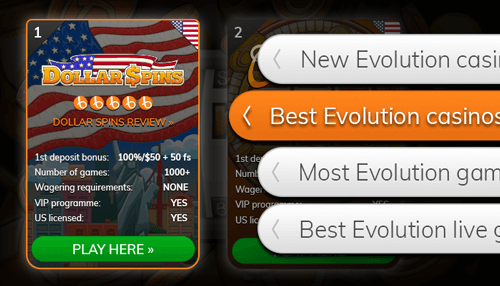 Browse our Evolution casino full list