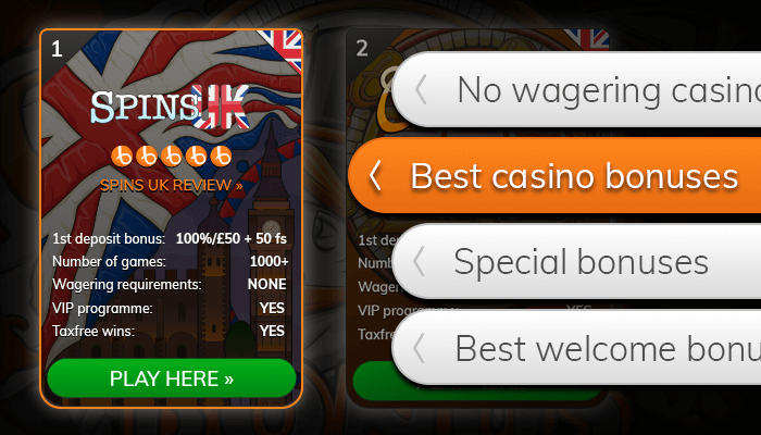 Find the best bonuses from our casino list