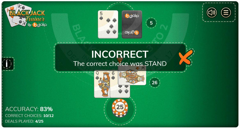 Blackjack trainer basic strategy feedback
