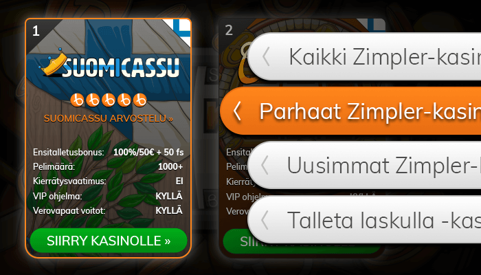 Löydä Zimpler-kasinot listaltamme.