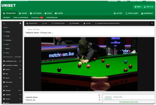Tältä näyttää Unibet TV live stream tietokoneella