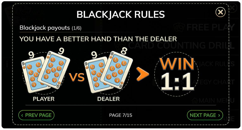 Blackjack Trainer -sovelluksen säännöt