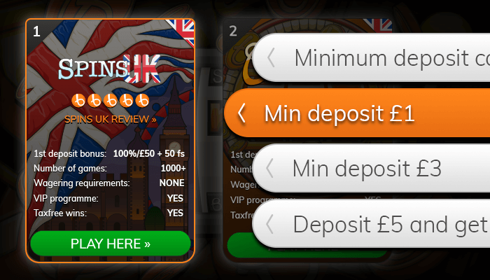 Find a low-deposit casino from our list