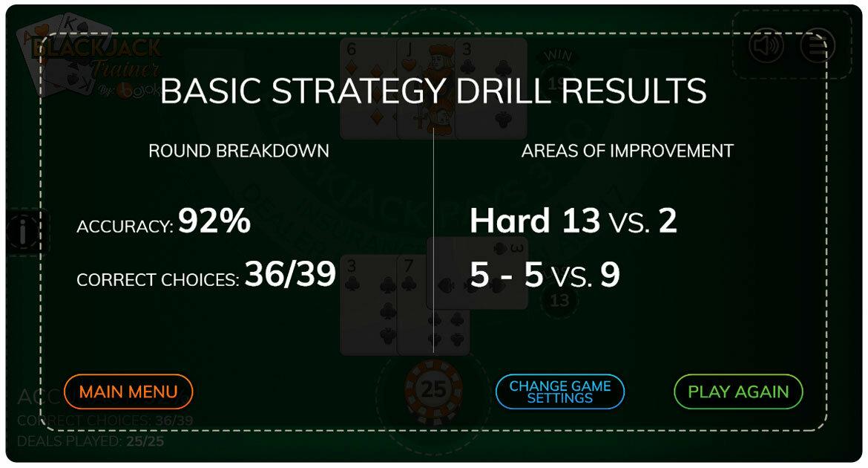 Blackjack trainer basic strategy results